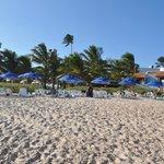 Vista da praia para resort