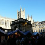 Christmas market 2013 with Bath Abbey Church in the background.