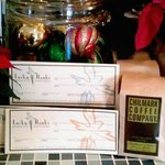 We sell gift certificates & 12oz package Chilmark Coffee Co. Coffee