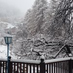 Dal terrazzo della stanza, sotto la grande nevicata di Santo Stefano