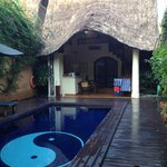 view walking into the villa
