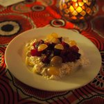 Smoked aubergine, cheese, beetroot and grape salad 30dh. A bit pricey for such a small portion b