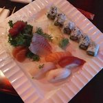 Sashimi-sushi combination dinner platter ($21)