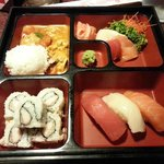 Lunch bento - chicken panang curry and sushi