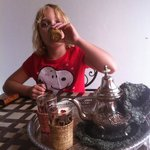 Our daughter enjoying the complementary mint tea