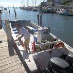 Divemaster Juan prepping the dive boat for departure