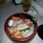 Very good meal with an interesting mix,   	Chirashi Ju