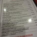 An extensive menu