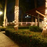 Christmas night view on restaurant and theater