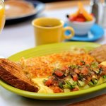Vera Cruz omelet topped with fresh house roasted salsa