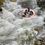 Dropping in on one of the numerous rapids on the Lower Kern