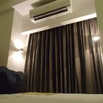 Aircon and window curtain (room without a view)