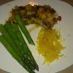 Chilean Sea Bass w/ Mango Salsa, Steamed Asparagus and Spaghetti Squash