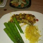 Bang Bang Shrimp (top) and Chilean Sea Bass with Steamed Asparagus and Spaghetti Squash (lower)