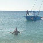 Off Nevis ready to board Speedy's boat