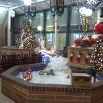 Fountain decorated for Christmas