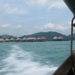 Approaching Telunas Resort from the long boat