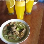 A welcome drink, and the awesome beef soto