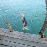 Enjoying the pier jump.