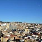 Blick auf die Sagrada Familia von der Dachterrasse aus