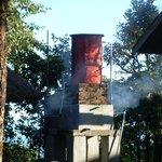 Firewood to heat water tank