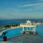 A view from the terrace outside the loung bar of the pool