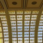 Stained glass ceiling in lobby