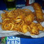 Fish Clam Shrimp with Curly Fries