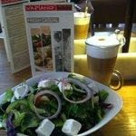 Greek Salad and macchiato latte coffee.