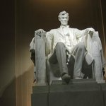 Abe Lincoln inside the Lincoln Memorial