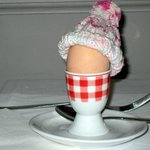 My hard boiled egg at breakfast!