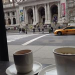 View from the breakfast area to the New York Library