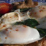 Ann-Marie's version of eggs benedict with spinach, absolutely delicious!
