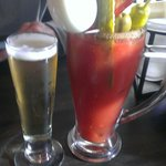 Egg n bacon bloody w choice of draft chaser.  Perfect