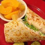 Chicken salad wrap with fruit $5.45 Saturday special