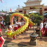 January 2012 Temple festival with lion and dragon dance at temple courtyard