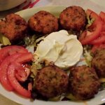 Delicious zucchini balls with yogurt side!