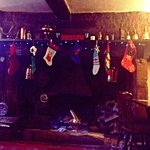 Open inglenook fireplace at Barford Inn