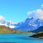 View of Torres del Paine from Rio Serrano nearby hotel