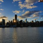 View of the Manhattan Skyline at sunset.