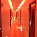 Hallway with Low Red Lighting