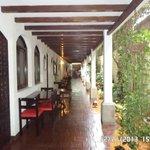downstairs corridor overlooks garden and common breakfast area