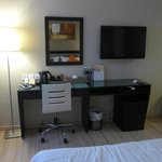 Desk, television and minibar