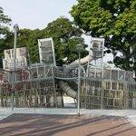 Battleship climbing feature in children's playground