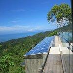 solar panels below the pool