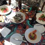 watermelon and salty bokkom salad and fresh oysters with apple