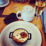 Day 2 breakfast : Shakshuka ( baked egg with tomatoes ) and sparkling wine