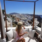 Private hotel terrace where we have an incredible view of Fira