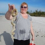 Melissa with the egg casing from a conch!