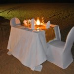 Romantic private meal on beach